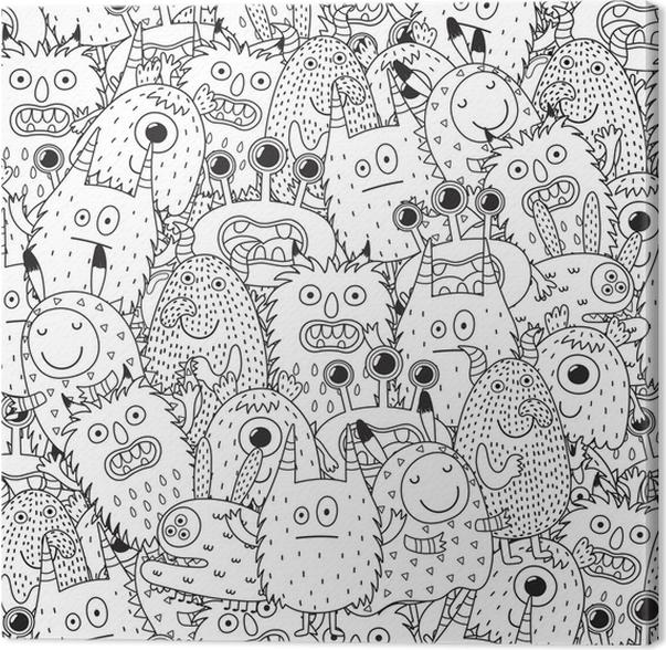 Cuadro en Lienzo Monstruos divertidos de patrones sin fisuras para ...