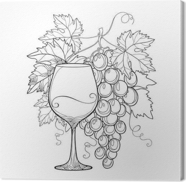 Cuadro en Lienzo Montón de vectores de uva, hojas de parra ...