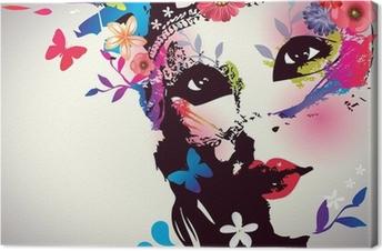 Cuadro en Lienzo Muchacha con la máscara / ilustración vectorial