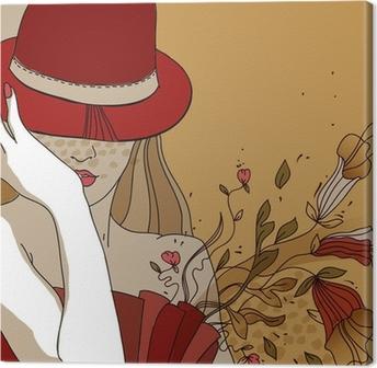 Cuadro en Lienzo Mujer bonita en un sombrero rojo y vestido con flores de  fantasía • Pixers® - Vivimos para cambiar c4ab43d4056