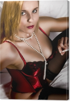 9460835589 Cuadro en Lienzo Mujer joven en ropa interior roja • Pixers® - Vivimos para  cambiar