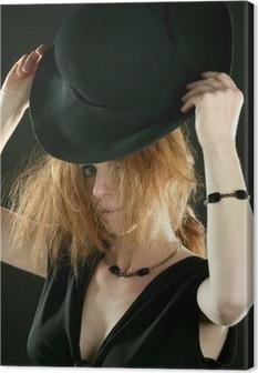 Vinilo Pixerstick Mujer pelirroja hermosa en negro 04175753750