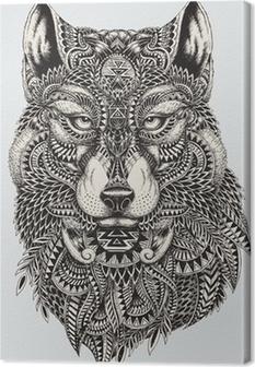 Cuadro en Lienzo Muy detallada lobo ilustración abstracta