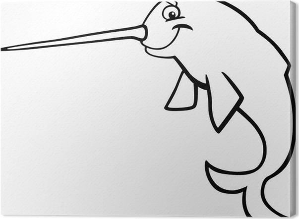 Cuadro en Lienzo Narval de dibujos animados para colorear libro ...