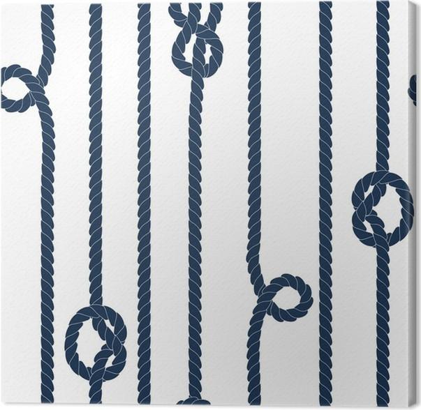 Cuadro en Lienzo Navy cuerda azul con nudos marinos sobre fondo ...