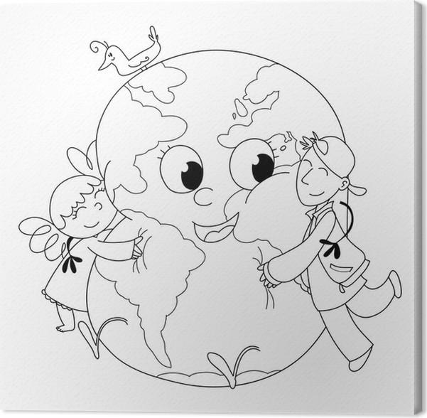 Cuadro en Lienzo Niños felices que abrazan la tierra para colorear ...