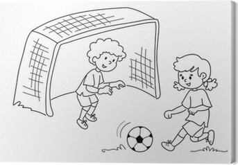 Niños Jugando Al Fútbol Blanco Y Negro