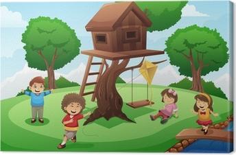 Cuadro en Lienzo Niños jugando alrededor de la casa del árbol