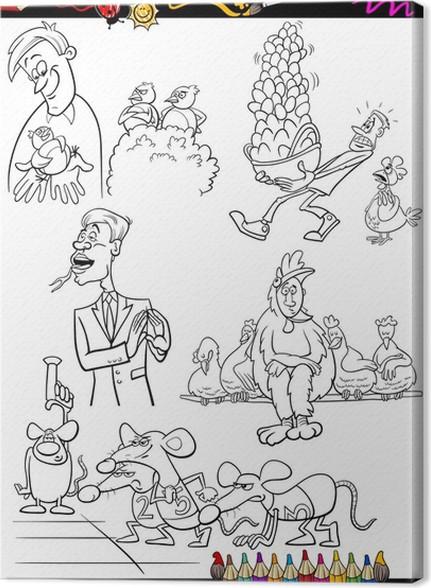 Cuadro en Lienzo Niños para colorear de dibujos animados conjunto ...