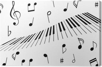 Cuadro en Lienzo Notas de la música y teclas de piano