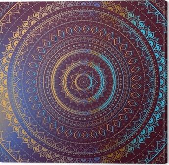 Cuadro en Lienzo Oro Mandala. Patrón decorativo de la India.