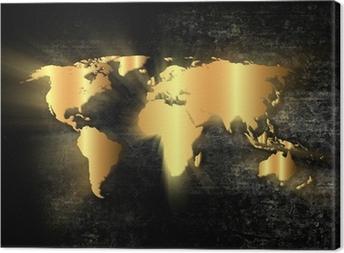 Cuadro en Lienzo Oro mapa del mundo