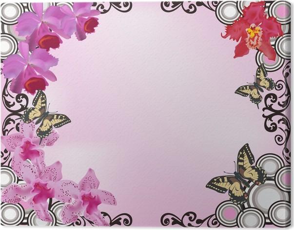 Cuadro en Lienzo Orquídea rosada marco flores y mariposas • Pixers ...