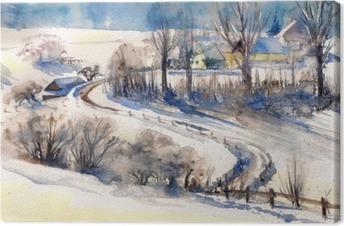 Cuadro en Lienzo Paisaje de invierno con el camino de village.Picture creado con las acuarelas.