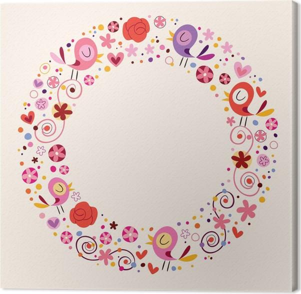 Cuadro en Lienzo Pájaros del amor y las flores ornamentales círculo ...