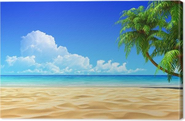 Cuadro en Lienzo Palmas en vacío idílica playa tropical de arena ...