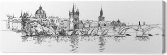 Cuadro en Lienzo Panorama de Praga. Vista del puente de Carlos y el río Vltava.