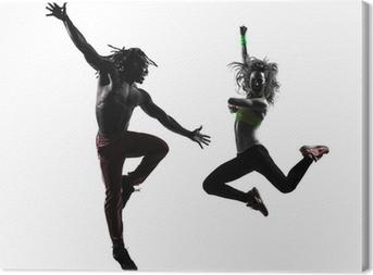 Cuadro en Lienzo Pareja de hombre y mujer en el ejercicio de fitness Zumba baile silueta