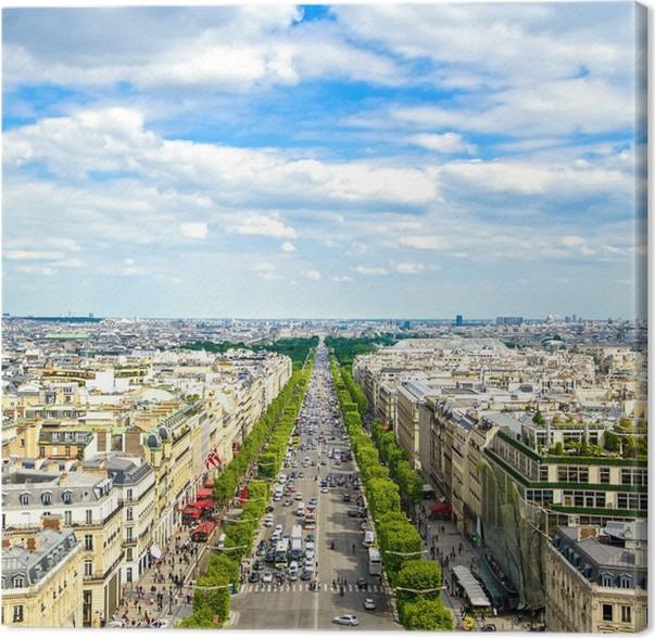 Cuadro en Lienzo París, vista panorámica aérea de los Campos Elíseos ...