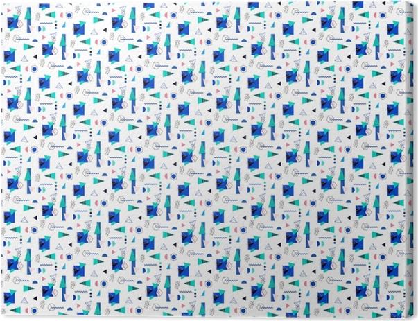 Cuadro en Lienzo Patrón geométrico transparente en el retro de los 80 -