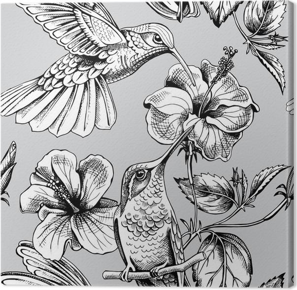 Cuadro en Lienzo Patrón sin fisuras con la imagen de un colibríes ...