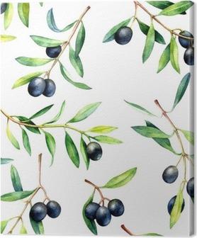 Cuadro en Lienzo Patrón sin fisuras con las ramas de olivo. Dibujado a mano ilustración de la acuarela.
