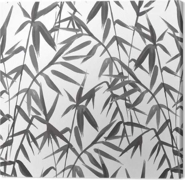 Cuadro en Lienzo Patrón transparente de bambú sobre fondo verde en ...