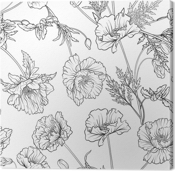 Cuadro en Lienzo Patrones sin fisuras con flores de amapola en ...