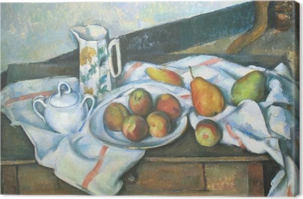 Cuadro en Lienzo Paul Cézanne - Naturaleza muerta con melocotones y peras - Reproducciones