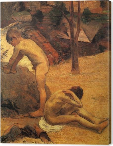 Cuadro en Lienzo Paul Gauguin - Bretón Niños Baño - Reproducciones