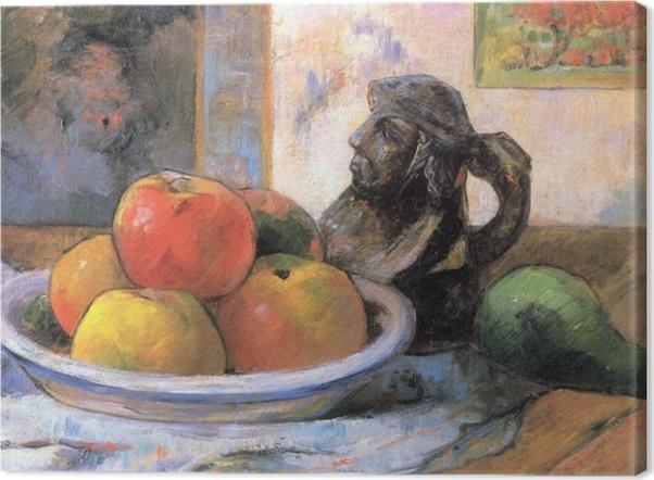 Cuadro en Lienzo Paul Gauguin - Todavía vida con manzana, una pera y un retrato de cerámica Jarra - Reproducciones