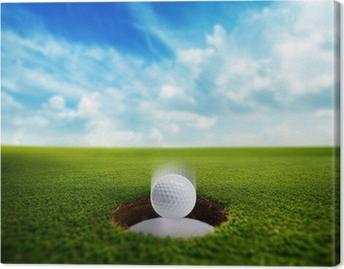 Cuadro en Lienzo Pelota de golf que cae en el agujero