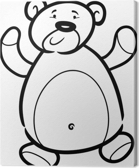 Cuadro en Lienzo Peluche oso de dibujos animados para colorear libro ...