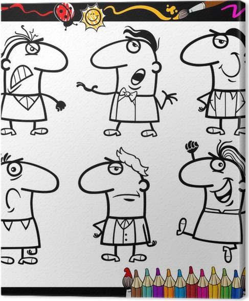 Cuadro en Lienzo Personas emociones para libro para colorear ...