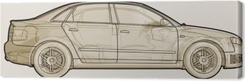 Cuadro en Lienzo Perspective sketchy ilustración de un Audi A4.