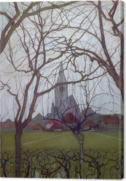 Cuadro en Lienzo Piet Mondrian - Iglesia del pueblo - Reproducciones