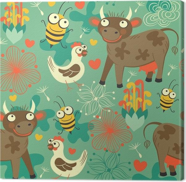 Cuadro en Lienzo Pintura de fondo transparente para niños con vacas ...