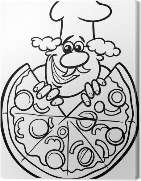 Cuadro en Lienzo Pizza italiana página para colorear de dibujos ...