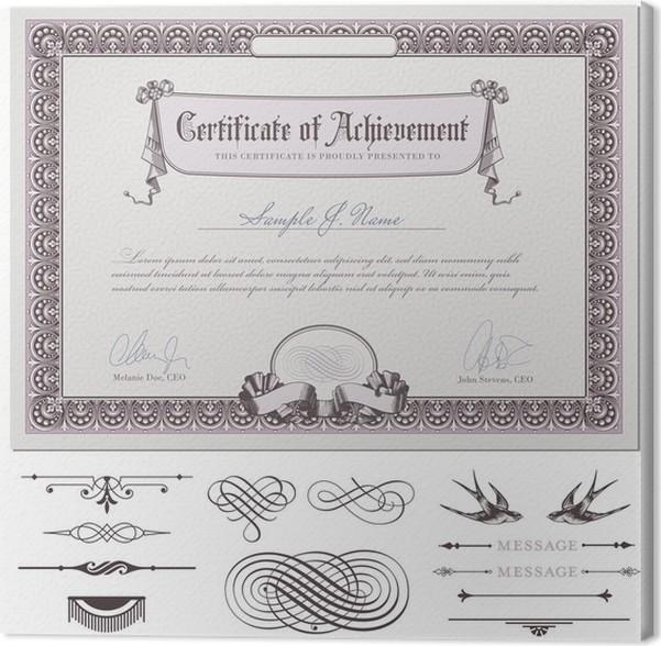 Cuadro en Lienzo Plantilla de certificado romántico (descarga sin ...