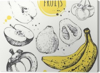 Cuadro en Lienzo Plátano, mangostán, manzana, bergamota. Conjunto drenado mano con comida fresca.