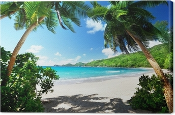 Cuadro en Lienzo Playa, isla de Mahe, Seychelles