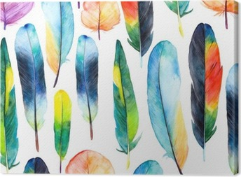 Cuadro en Lienzo Plumas de la acuarela set.Pattern con plumas dibujadas a mano