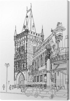 Cuadro en Lienzo Praga - Torre de la Pólvora y la Casa Municipal. Vector arquitectónico dr