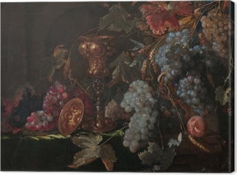 Cuadros en lienzo premium Abraham Mignon - Grape and silverware cup on an entablature
