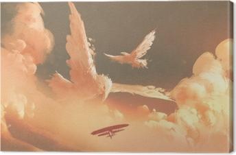 Cuadros en lienzo premium Aves en forma de nube en el cielo del atardecer, ilustración pintura