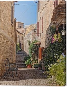 Cuadros en lienzo premium Callejón con flores de un pequeño pueblo de Umbria, Italia
