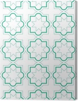 Cuadros en lienzo premium Patrones sin fisuras de azulejos geométricos marroquíes, diseño de azulejos de vector, fondo verde y blanco