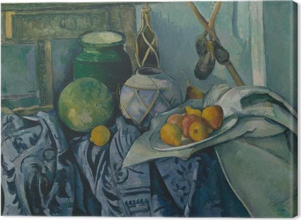 Cuadros en lienzo premium Paul Cézanne - Todavía vida con la jarra y las berenjenas - Reproducciones