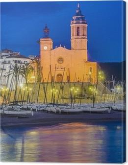 Cuadros en lienzo premium Sant Bartomeu i Santa Tecla iglesia en Sitges, España