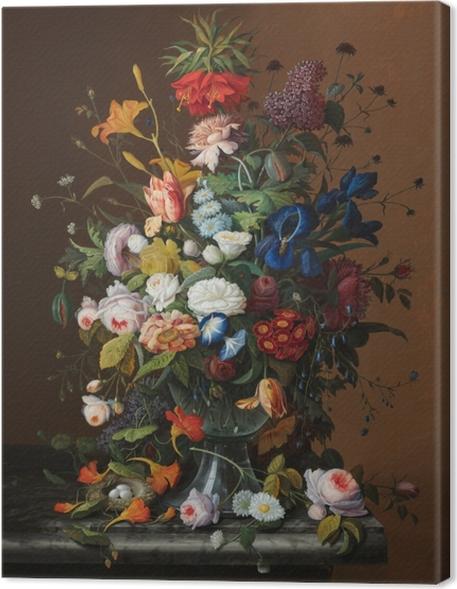 Cuadros en lienzo premium Severin Roesen - Flower Still Life with Bird's Nest - Reproducciones